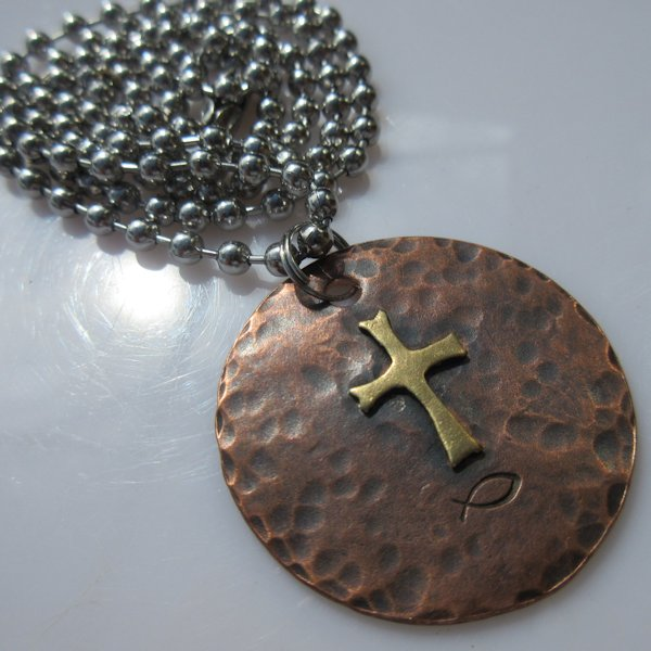 God & Country Cross Disc Necklace in Copper and Brass